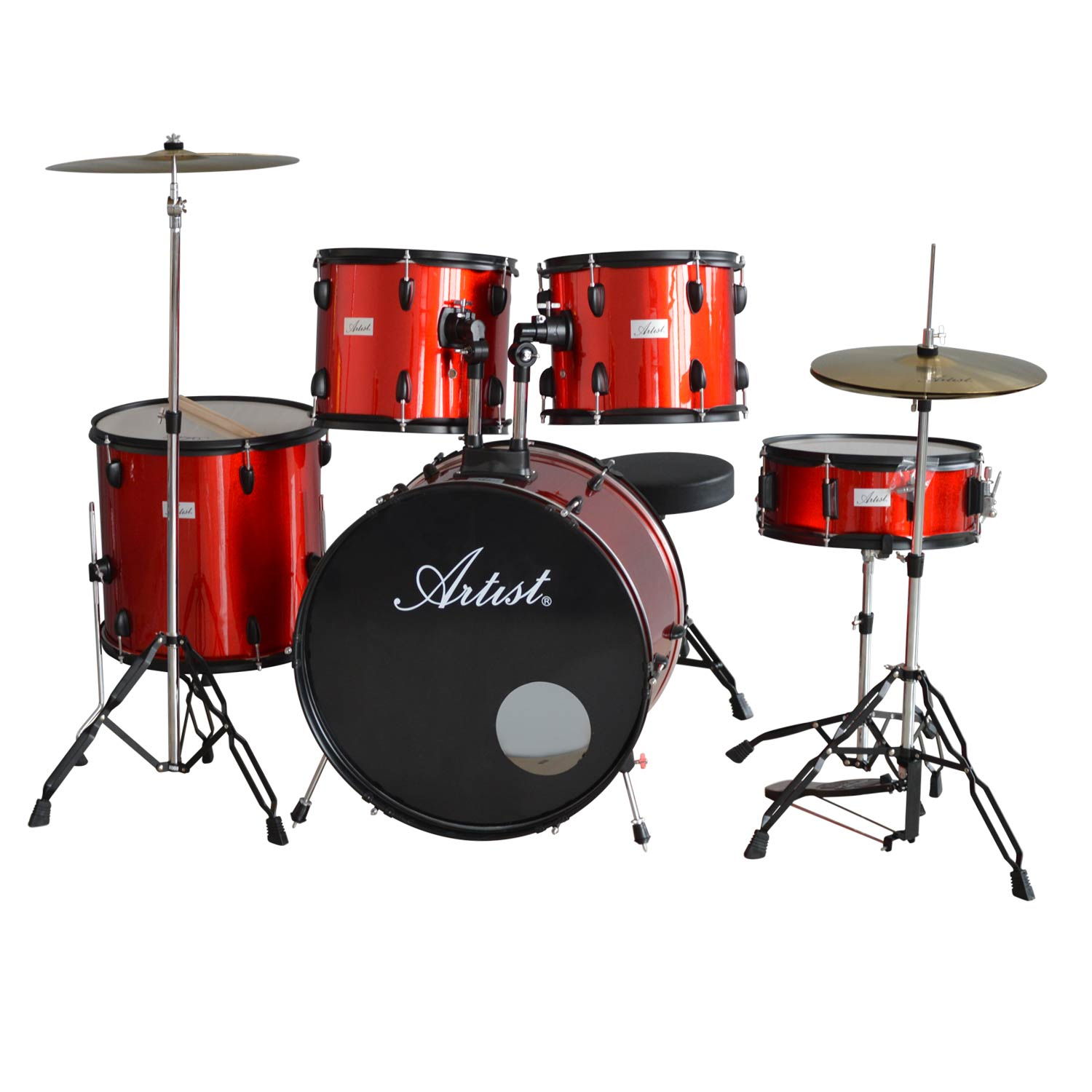 artist adr522 5 piece drum kit cymbals and stool red. Black Bedroom Furniture Sets. Home Design Ideas