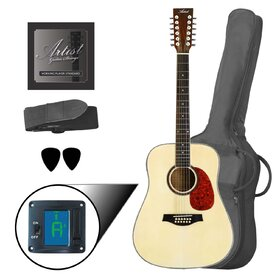 LSP12 12 String Beginner Acoustic Guitar Pack - Gloss Natural