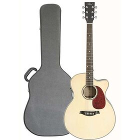 MJUMBCEQ+C Mini Jumbo Acoustic Electric Guitar with Case
