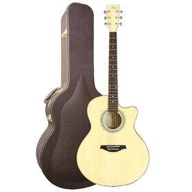 Artist JB300+C Solid Top Jumbo Acoustic Electric Guitar Cutaway+Case