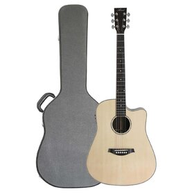 Artist D200CEQ+C Acoustic Solid Wood Dreadnought with EQ +Case+Optional PickGuard