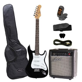 Artist  ST34PKBK 3/4 Size Black Electric Guitar Package with Wilkinson Pickups,  Amp, Strap, Guitar Lead/ Cable