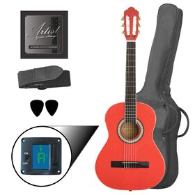Artist CL34PI 3/4 Size Classical Guitar Pack, Nylon String - Pink