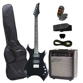 AG31BKPK Black Electric Guitar Pakage with Metal Style Shaped Body + Amp, Tuner, Strap & Lead