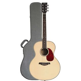 JUMB+C Jumbo Acoustic Guitar with built-in tuner with Hard Case