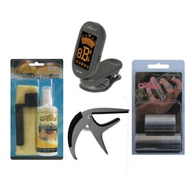 Artist Guitar Accessories Pack - Slide, Capo, String Winder, Tuner