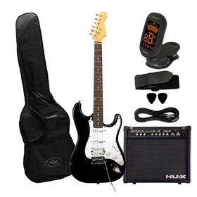 Artist STHBK30PK Electric Guitar Plus Nux Frontline 30 Amp and Accessories Black