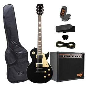 Artist LP60BK30PK Electric Guitar - Black Plus Nux Frontline 30 Watt Amp