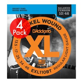 D'Addario EXL110BT 4 Pack Electric Guitar Strings Light BALANCED TENSION 10-46