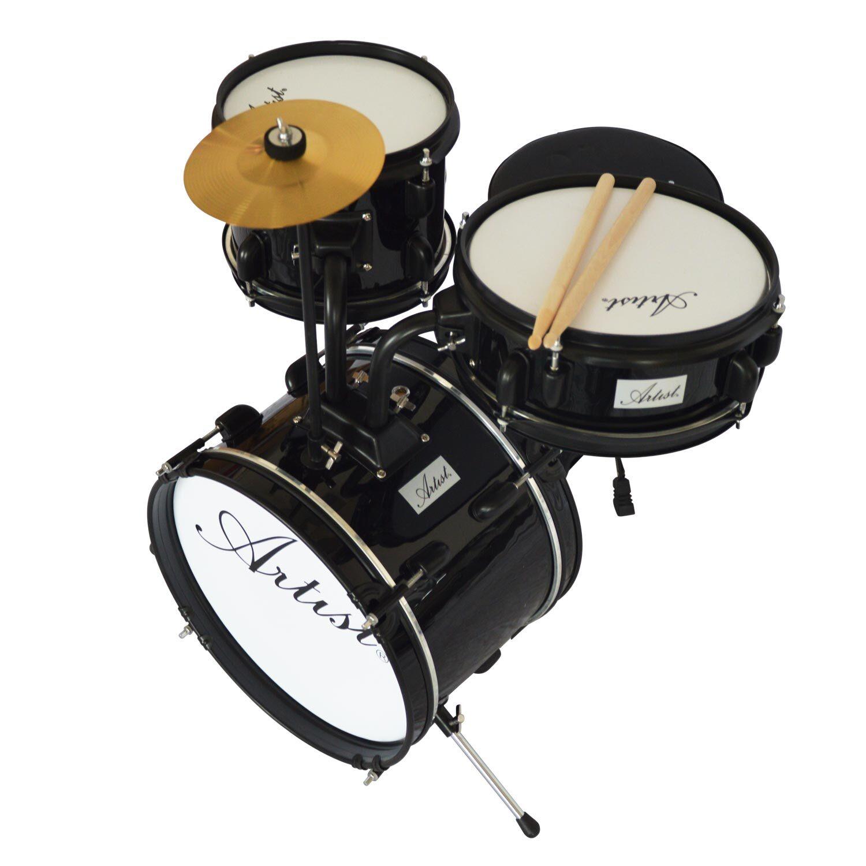 artist aj313 acoustic 3 piece junior drum sets black. Black Bedroom Furniture Sets. Home Design Ideas