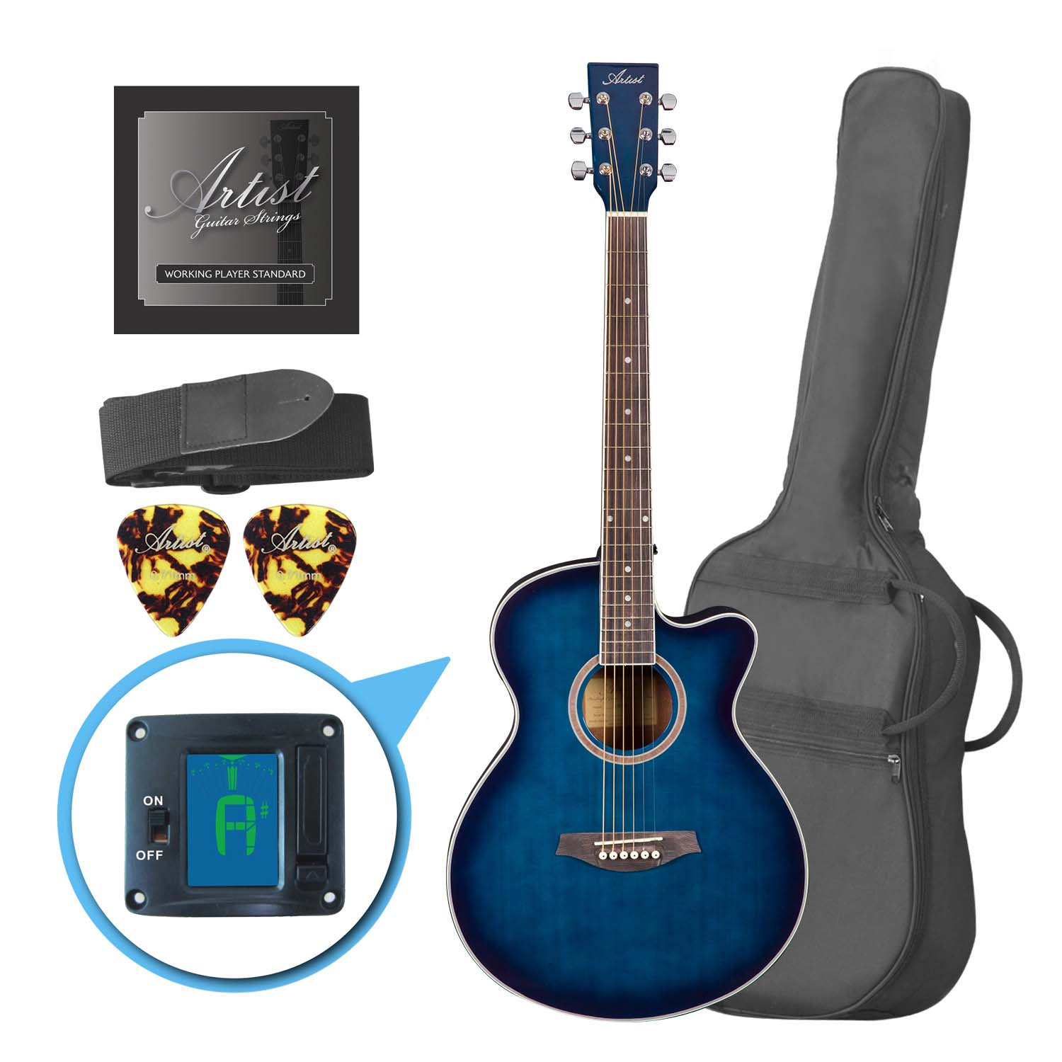 Artist LSPSTBB Beginner Acoustic Guitar Pack with Small Body - Blue
