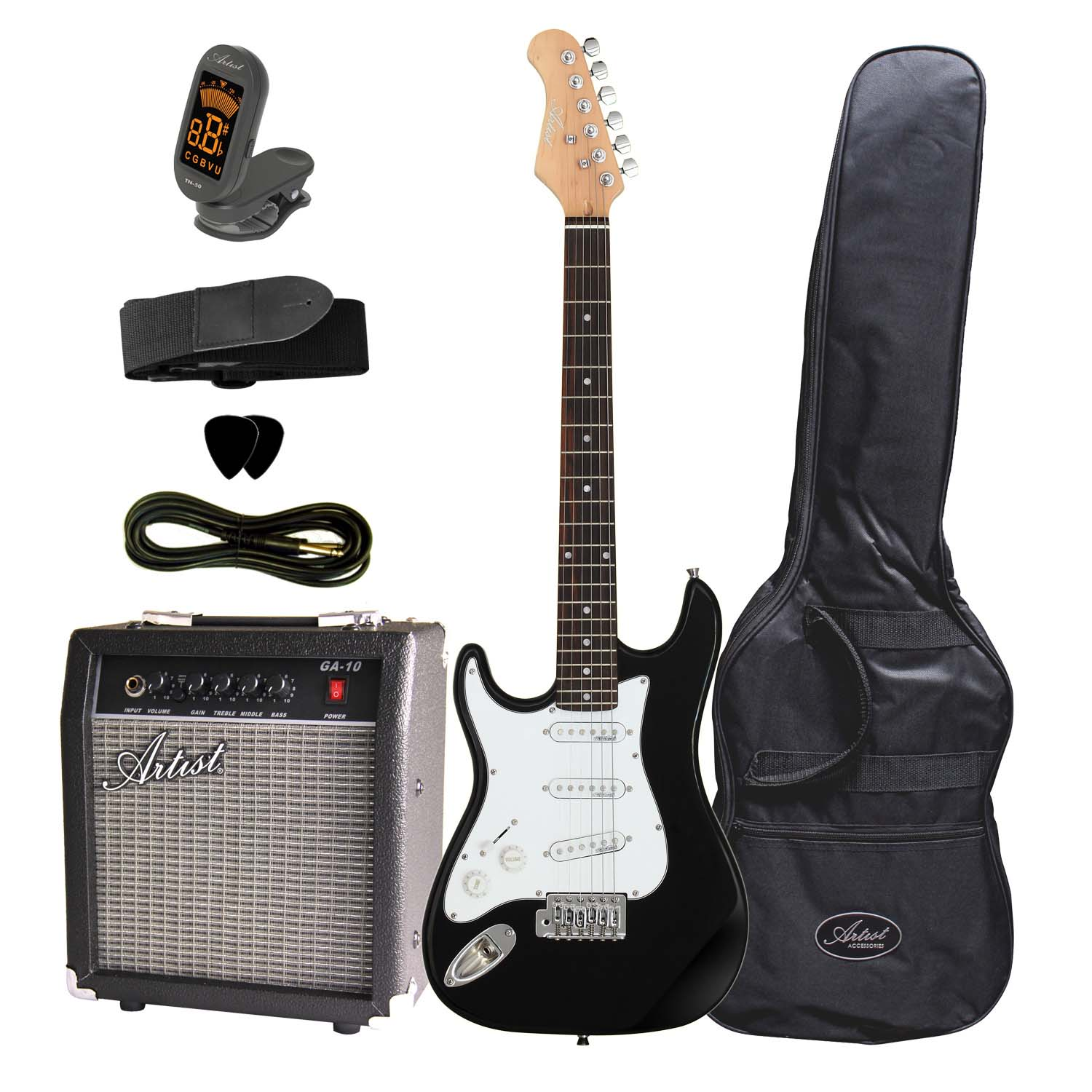 artist st34bkpkl 3 4 left handed electric guitar pack amp. Black Bedroom Furniture Sets. Home Design Ideas