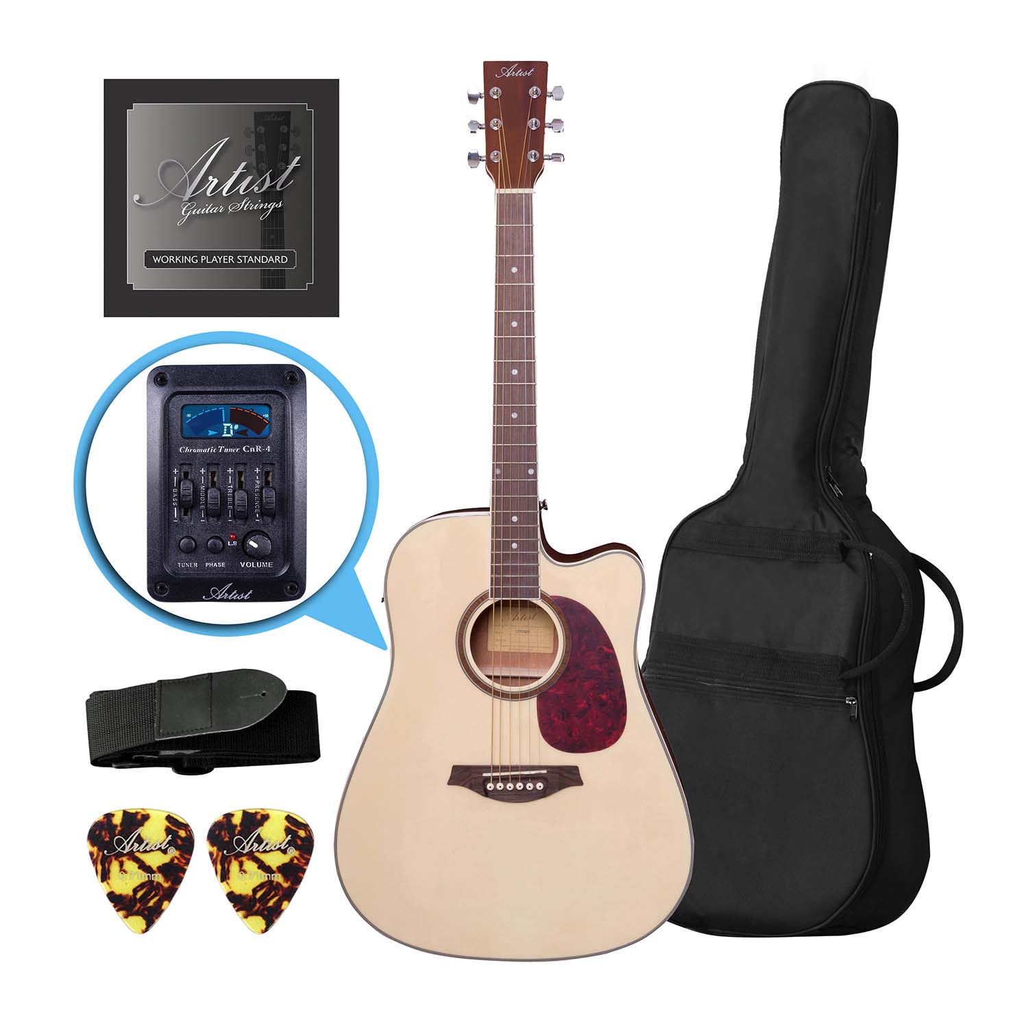 artist lspceqnt beginner acoustic electric guitar pack with eq natural. Black Bedroom Furniture Sets. Home Design Ideas