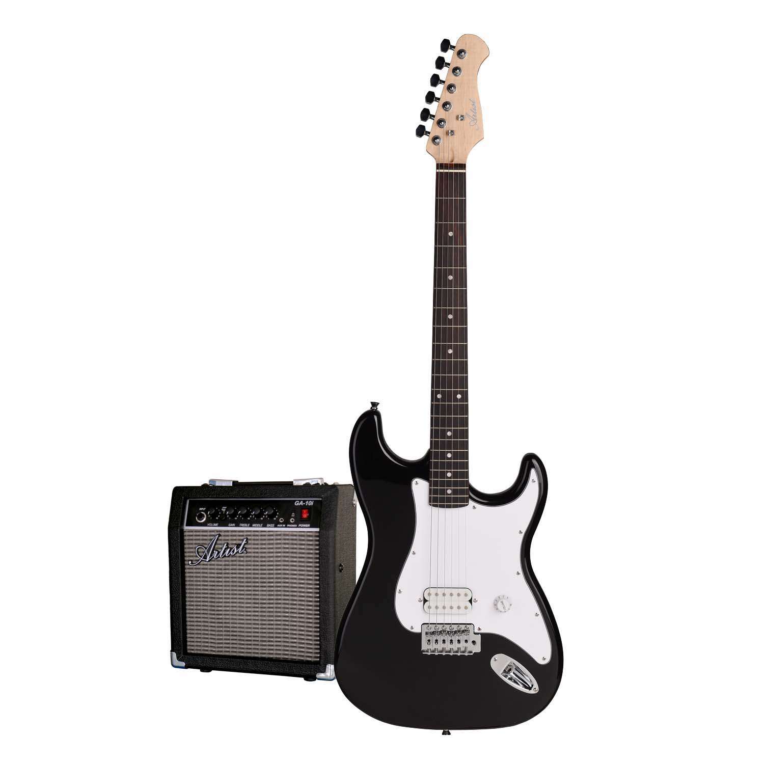 artist eb2 budget full sized st style electric guitar black amp. Black Bedroom Furniture Sets. Home Design Ideas