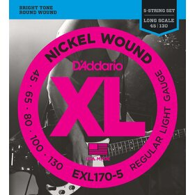 D'Addario EXL170-5 Electric 5-String Bass Strings Regular Light 45-130