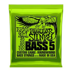 Ernie Ball 2836 5-String Bass Guitar Strings Regular Slinky 45-130