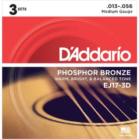D'Addario EJ17 Acoustic Guitar Strings Med 13-56, 3 Sets