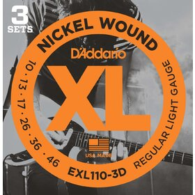 D'Addario EXL110 3-set Electric Guitar Strings  Light 10-46