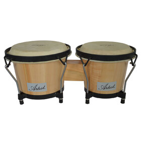 Artist JW500 Buffalo Hide Skinned Bongo Drums Set Natural 6.5 & 7.5 Inch