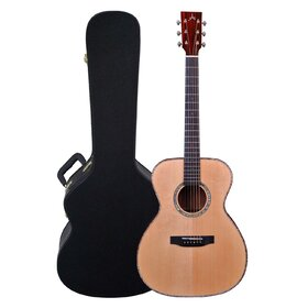 Artist OMS10EQL Left Handed Solid Wood OM Size Acoustic Guitar + EQ + Case