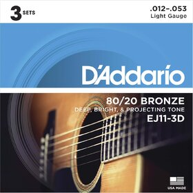 D'Addario EJ11 3 Sets 80/20 Bronze Acoustic Guitar Strings Light 12-53