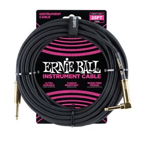 Ernie Ball E6058 25ft. (7.62m) Black Braided Instrument Cable - 1 Right Angle