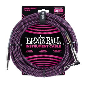 Ernie Ball E6068 25ft. (7.62m) Black-Purple Braided Instrument Cable - 1 Right Angle