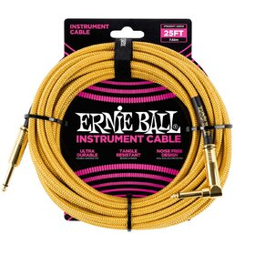 Ernie Ball E6070 25ft (7.62m) Gold Braided Instrument Cable - 1 Right Angle