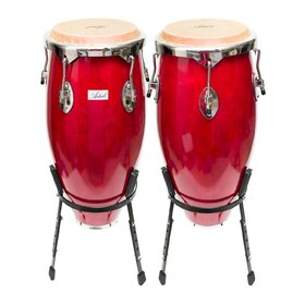 Artist CG1011 Red Conga Drum - 10 Inch + 11 Inch with Stands