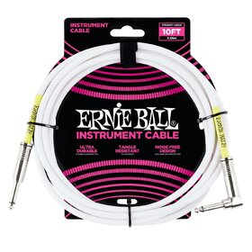 Ernie Ball 6049 10ft. White Instrument Cable with 1 Right Angle