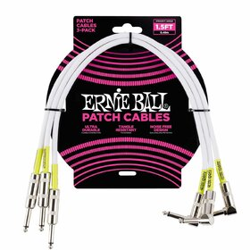 Ernie Ball 6056 45cm White Straight/Angled Patch Cable 3 Pack