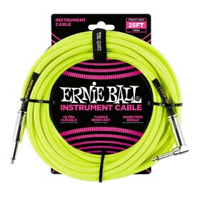Ernie Ball 6057 25ft. (7.62m) Neon Yellow Braided Instrument Cable - 1 Right Angle