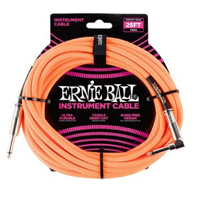 Ernie Ball 6067 25ft. (7.62m) Neon Orange Braided Instrument Cable - 1 Right Angle
