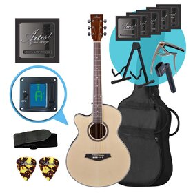 Artist LSPSNTL Left Handed Small Body Acoustic Guitar Ultimate Pack
