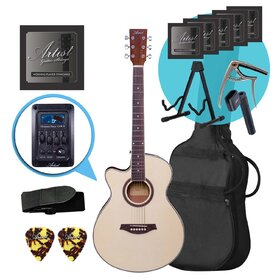 Artist LSPSCEQNTL Left Handed Small Body Acoustic Guitar Ultimate Pack