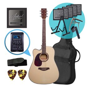Artist LSPCEQNTL Left Handed Acoustic Electric Guitar Ultimate Pack