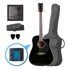 Customer Returned Artist LSPCBK Beginner Acoustic Guitar Pack With Cutaway - Black