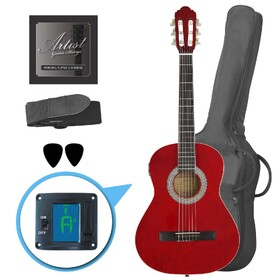 Factory 2nd Artist CL34TRD 3/4 Size Classical Guitar Pack, Nylon String - Red
