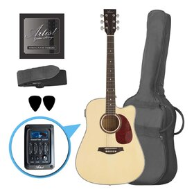 Factory 2nd Artist LSPCEQNT Beginner Acoustic Electric Guitar Pack - Natural