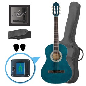 Factory 2nd Artist CL34TBB 3/4 Size Classical Guitar Pack, Nylon String - Blue