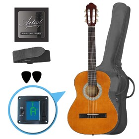 Factory 2nd Artist CL34AM 3/4 Size Classical Guitar Pack, Nylon String - Amber