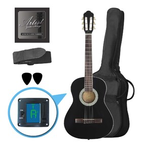 Factory 2nd Artist CL34BK 3/4 Size Classical Guitar Pack, Nylon String - Black