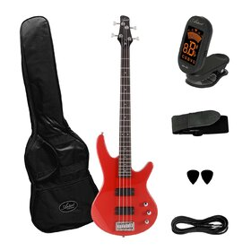 Factory 2nd Artist AG105RDS Electric Bass Guitar Plus Accessories - Red