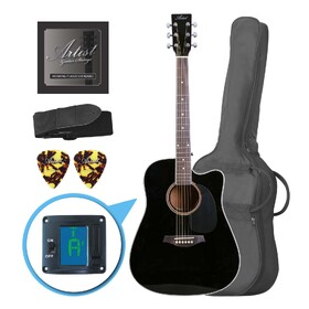 Factory 2nd Artist LSPCBK Beginner Acoustic Guitar Pack With Cutaway - Black