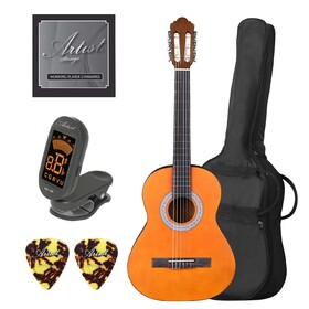 Factory 2nd Artist CL34MN Matte Amber Beginner 3/4 Sized Classical Guitar Pack