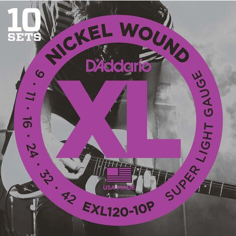D'Addario EXL120 Electric Guitar Strings Super Light 9-42, 10 Sets