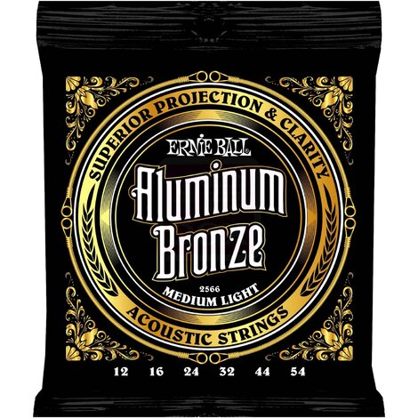Ernie Ball 2566 Aluminum Bronze Acoustic Guitar Strings Medium 12-54