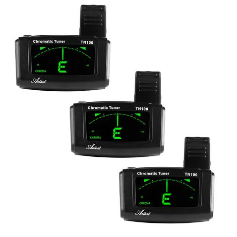 Artist TN100 Chromatic Clip on Guitar Tuner - 3 Pack
