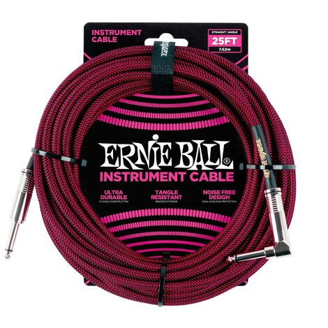 Ernie Ball E6062 25ft Red Braided Instrument Cable 1 Right Angle