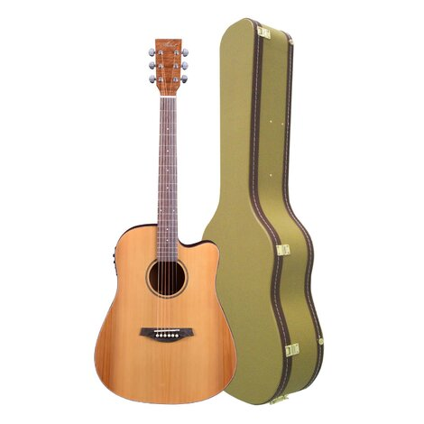 Artist DCA100CEQ Solid Top Acoustic Electric Guitar with Tweed Case
